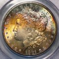 Morgan Dollar 1881-S PCGS MS 66 CAC Rainbow Toned Coin WDEB-10