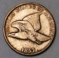 Flying Eagle Cent 1857 Fine Type 56 Cherry Pickers Coin WDED-18
