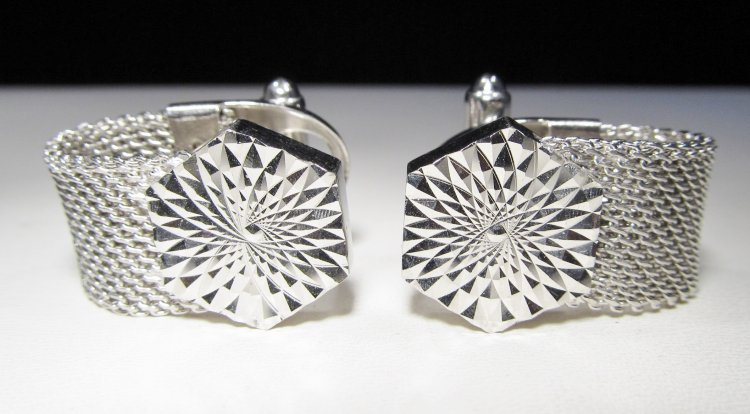 Anson Diamond Cut Mesh Wrap Cuff Links Vintage WC-366