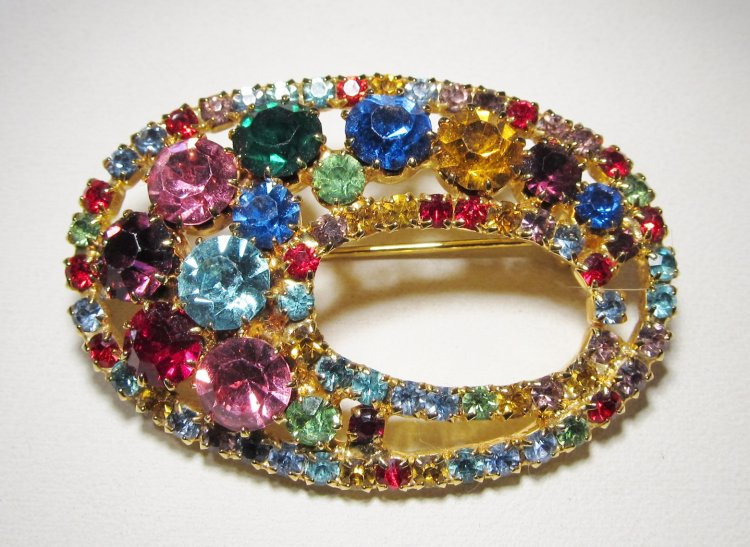 Bright Multi Colored Rhinestone Oval Brooch Pin WC-469 - Click Image to Close