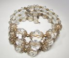 Clear Glass Bead & Gold Tone Filigree Wrap Bracelet WC-402