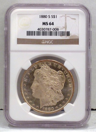 Morgan Dollar 1880-S NGC MS 64 Old US Silver Coin WDEA-03