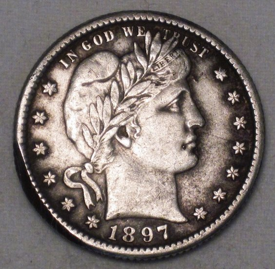 Barber Quarter 1897-O High XF Grade Old US Silver Coin WDEE-12 - Click Image to Close