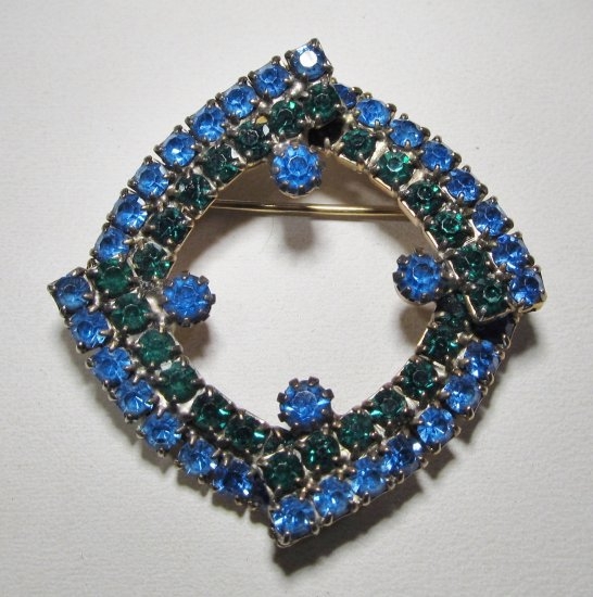 Blue & Green Rhinestone Brooch WC-425