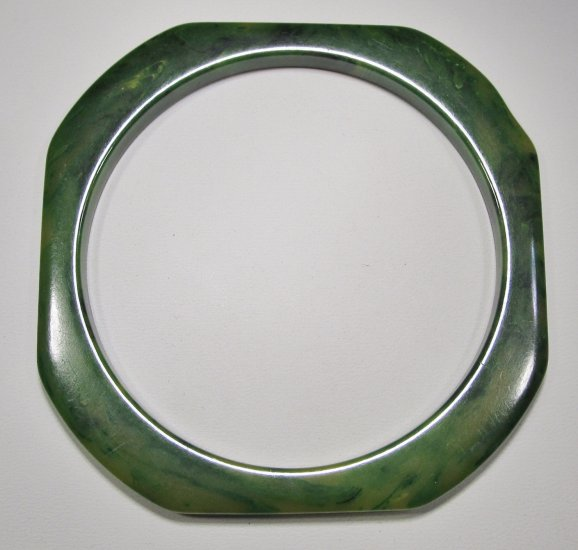 Bakelite Butterscotch & Green Marble Swirl Hex Bracelet WC-281