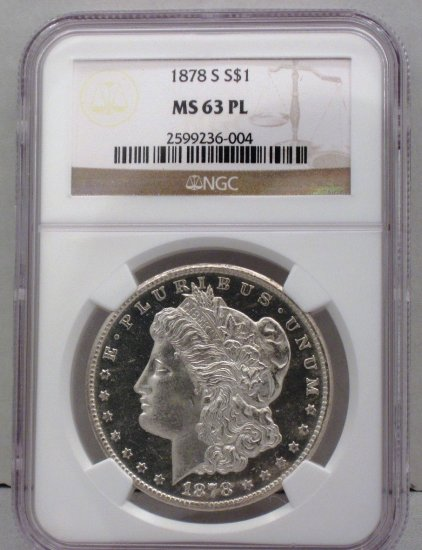 Morgan Dollar 1878-S NGC MS 63 PL Old US Silver Coin WDEC-01