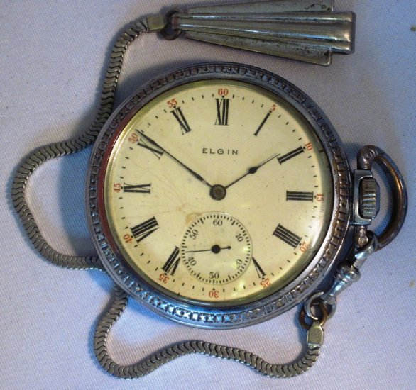 Vintage Elgin Pocket Watch on Forster Clip and Chain WDEW-09