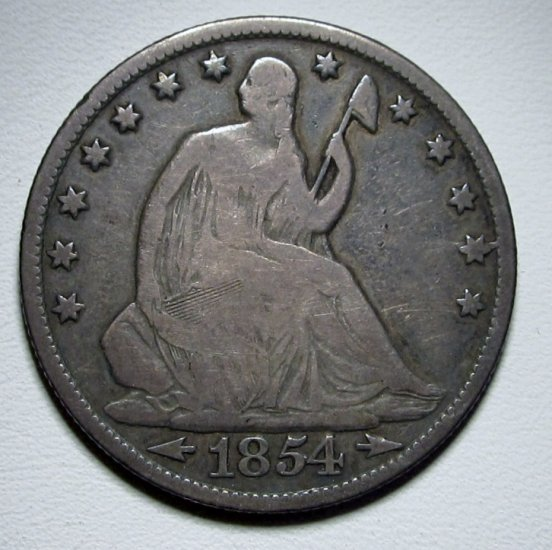 Seated Liberty Half Dollar 1854-O Arr VG Silver Coin WDED-40