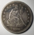 Seated Liberty Quarter 1860 VF+ Grade Old US Silver Coin WDED-05
