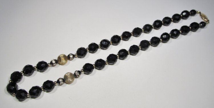 Black Faceted Glass Heavy Choker Necklace WC-419