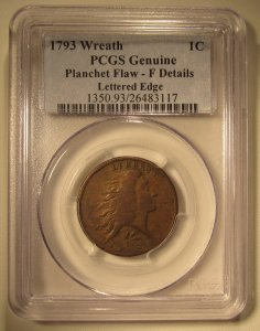 1793 Large Cent Wreath PCGS Fine Details Old US Coin WDEA-16