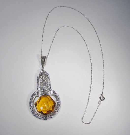 Art Deco Sterling Filigree & Citrine Stone Necklace WC-117