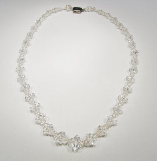 Art Deco Sterling Clasp Crystal Faceted Glass Necklace WC-376