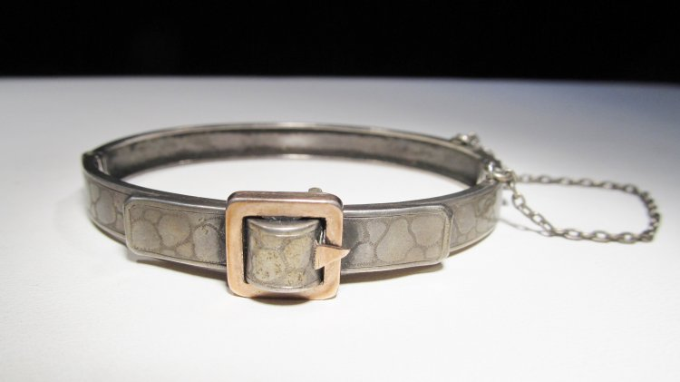 800 Silver Rose Gold Victorian Buckle Bracelet WC-303