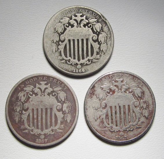 Shield Nickels 1866 & 1867 Vars VG & VF 3 Coins WDED-46 - Click Image to Close