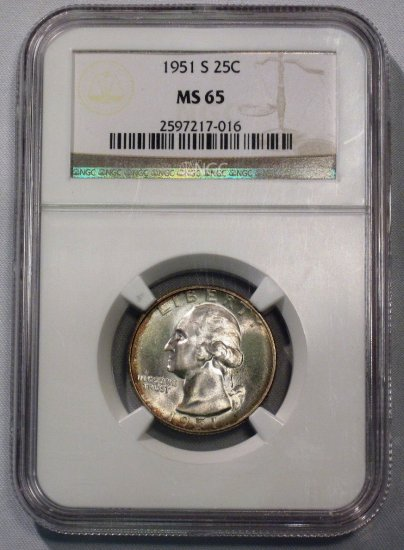 Washington Quarter 1951-S NGC MS 65 Peripheral Toning WDEC-18