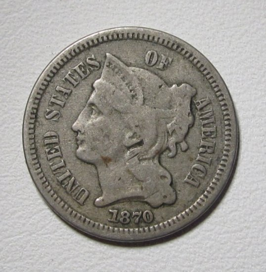 Nickel Three Cent Piece 1870 Fine Coin WDED-51