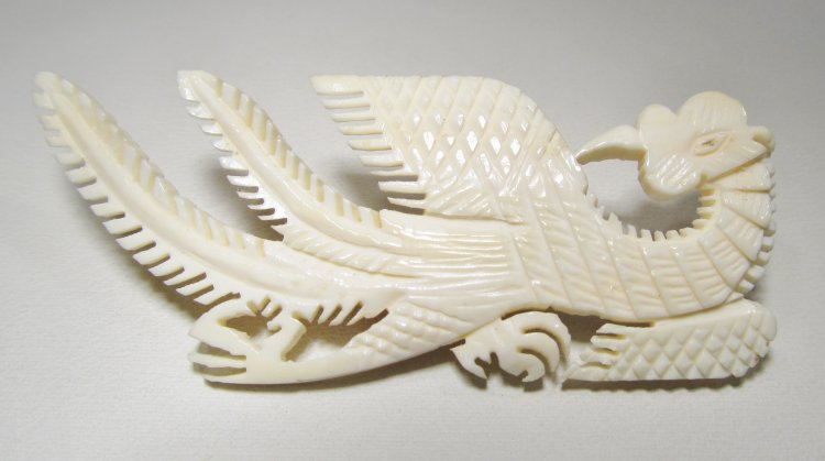 Carved Dragon Faux Ivory Brooch WC-302 - Click Image to Close