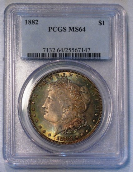 Morgan Dollar 1882 PCGS MS 64 Purple Toned Coin WDEF-06