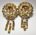 Amber & Yellow Rhinestone Necklace & Earrings Set WC-373