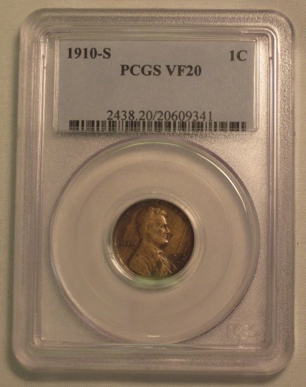 1910-S Lincoln Cent PCGS VF20 Old US Semi Key Date Coin WDEC-15