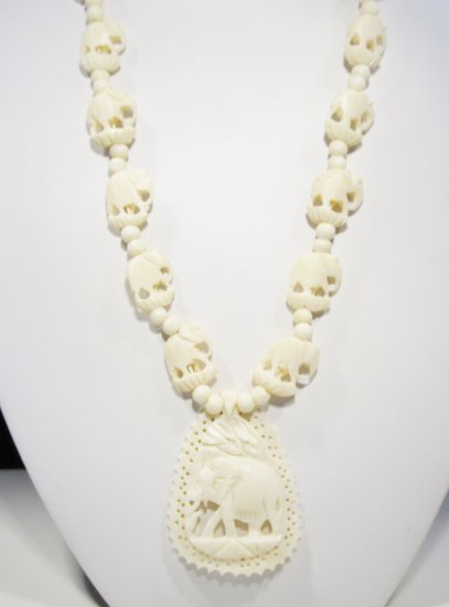 Carved Faux Ivory Elephant Necklace w/ Pendant WC-378