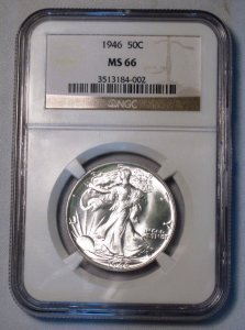 Walking Liberty Half Dollar 1946 NGC MS 66 Gem Coin WDEC-12