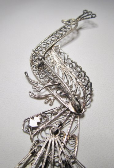 Vintage Silver Filigree Peacock Moveable Brooch Wc 370