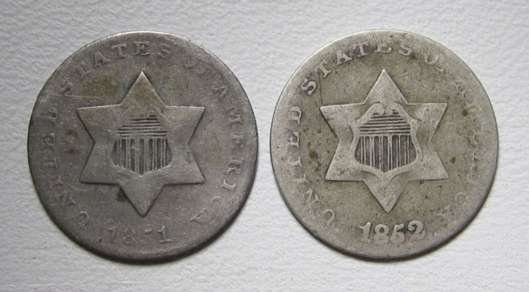 Silver Three Cent Pieces 1851 & 1852 Good Silver Coins WDED-48 - Click Image to Close