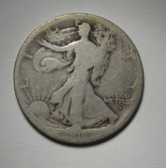 Walking Liberty Half Dollar 1916-D Good Silver Coin WDED-35