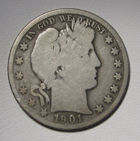 Barber Half Dollar 1901-S Good Silver Coin WDED 32 - Click Image to Close