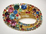 Bright Multi Colored Rhinestone Oval Brooch Pin WC-469