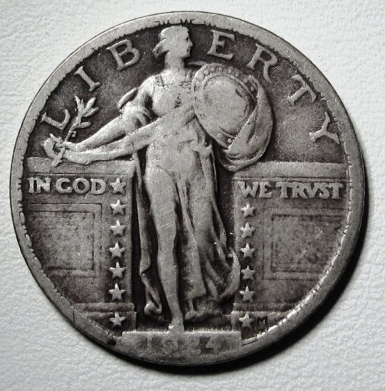 Standing Liberty Quarter 1924 Fine Weak Date Silver Coin WDED-43