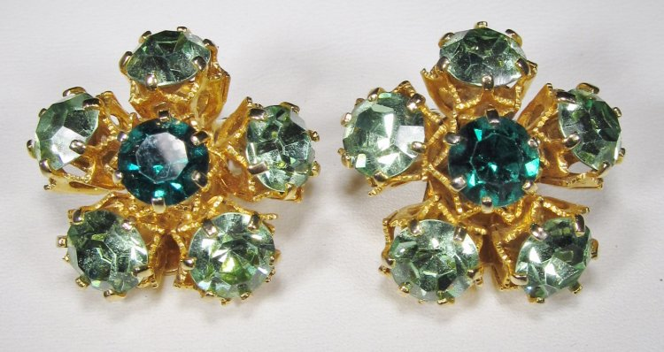 Austria Signed Green Rhinestone Clip Earrings WC-044