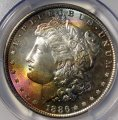 Morgan Dollar 1886 PCGS MS 67 Rainbow Toned Silver Coin WDEC-02