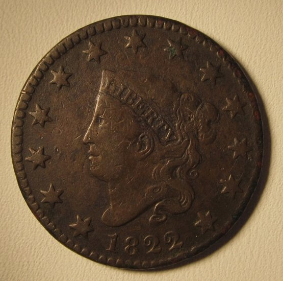 Large Cent 1822 Coronet Head Fine 15 Grade Old US Coin WDED-09 - Click Image to Close