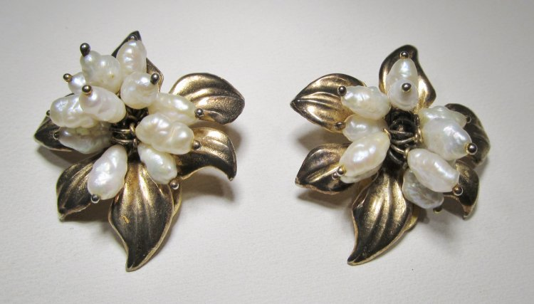 Antique Sterling Silver Freshwater Pearl Designer Earrings WC335