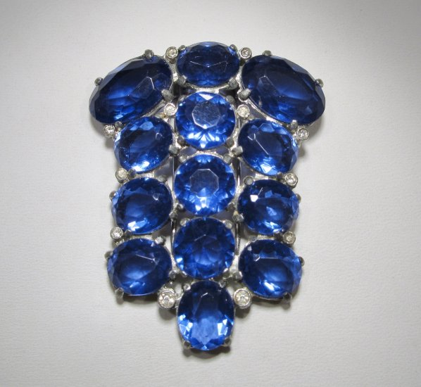 Antique Vintage Blue Glass Stone Fur Clip Dressy WC-274