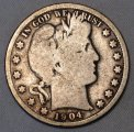 Barber Half Dollar 1904-S Scarce Date Good + Silver Coin WDED-26