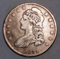 Cap Bust Half Dollar 1834 Sm Dt Very Fine Silver Coin WDED-24