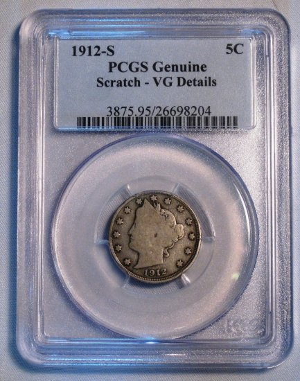 Liberty Nickel 1912-S PCGS Genuine VG Details US Coin WDEC-06 - Click Image to Close
