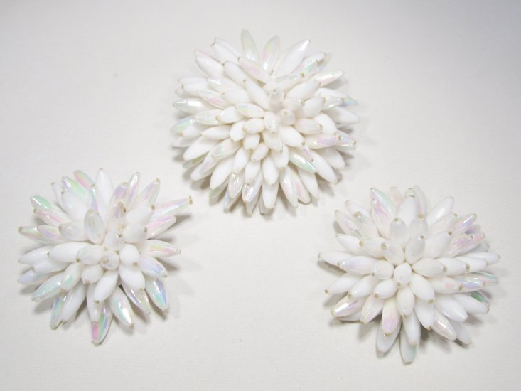 """Made Austria"" Vintage Starburst Brooch & Earrings Set WC-427"