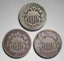 Shield Nickels 1866 & 1867 Vars VG & VF 3 Coins WDED-46