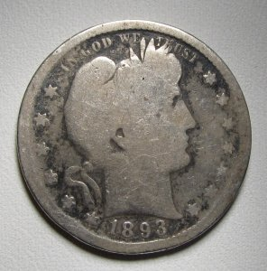 Barber Quarter 1893–S Good Scarce Date Old Siilver Coin WDEE-11