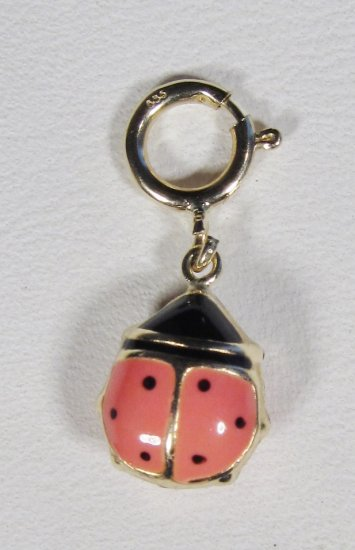 14K Gold Lady Bug Charm Pendant WC-177