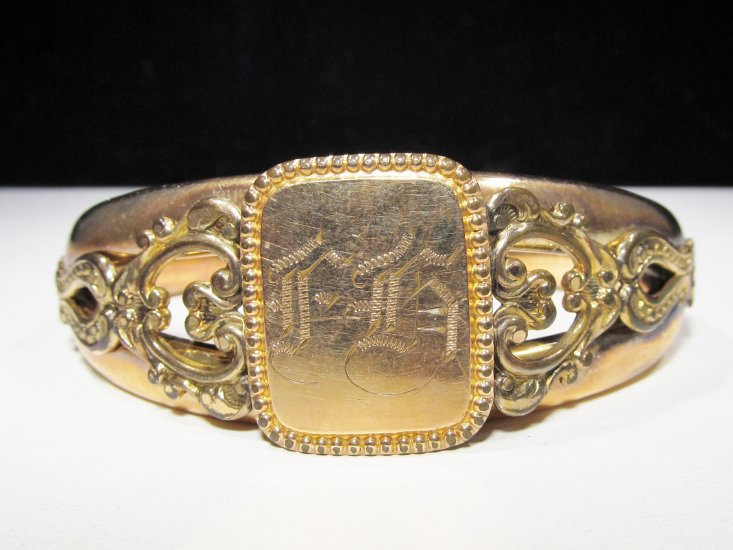 Antique Victorian Rose Gold Fill F.M. Co. Hinged Bracelet WC-404