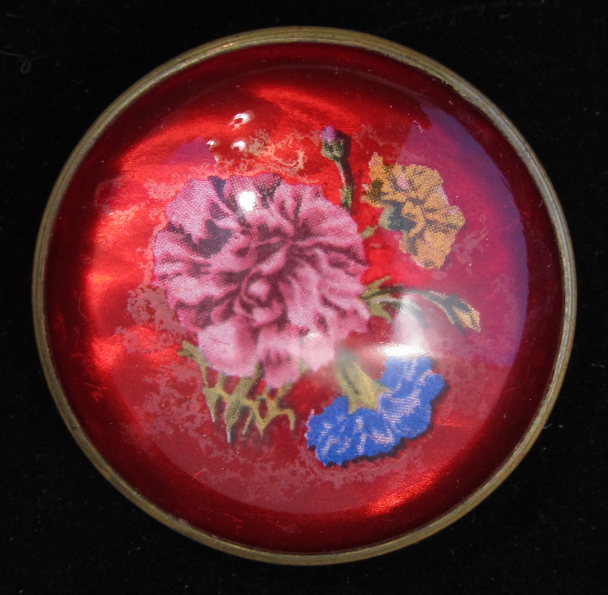 vintage domed glass floral brooch wc 126 decatur coin and jewelry coins jewelry. Black Bedroom Furniture Sets. Home Design Ideas