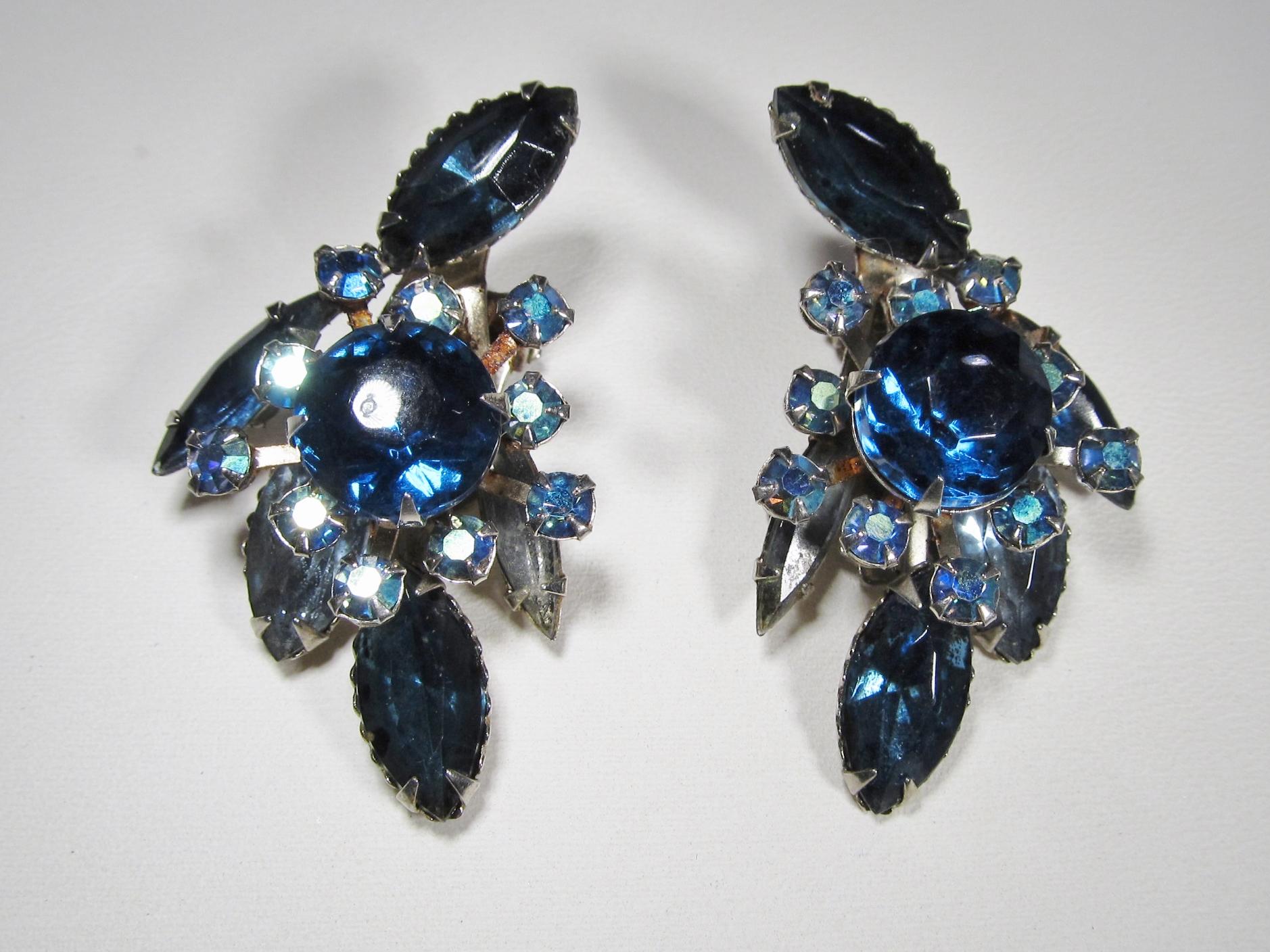 Beau Jewels Blue Rhinestone Aurora Borealis Clip Earrings Wc 219