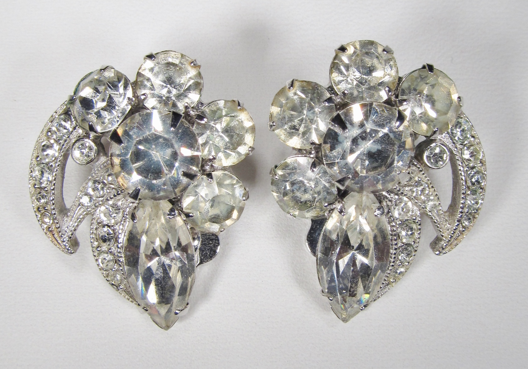 Vintage Eisenberg Ice Crystal Clip Earrings Wc 005
